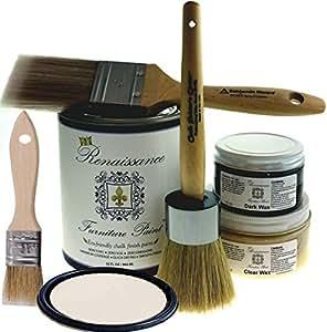 "Renaissance Chalk Furniture Paint Deluxe Starter Kit - 32oz Paint/8oz Clear Wax/4oz Dark Wax/2"" Paint Brush/1.5"" Wax Brush/1"" Detail Wax Brush! - Ivory Tower (DSK)"