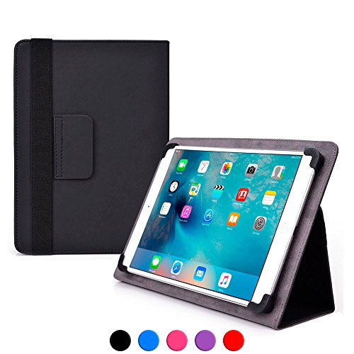 9 - 10.1 inch tablet case, COOPER INFINITE ELITE Protective Rugged Shockproof Carrying Universal Portfolio Case Cover Folio Holder with Built-in Stand for 9, 9.7, 10, 10.1'' inches tablets (Black)