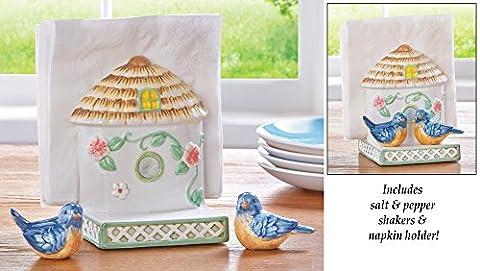 Birdhouse Napkin Holder and Salt & Pepper Shakers
