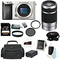 Sony Alpha a6000 (ILCE6000/S ILCE6000S ILCE6000-S) 24.3 MP Interchangeable Lens Camera (Body Only in Silver) + Sony SEL55210 E 55-210mm F4.5-6.3 OSS E-mount Zoom Lens (Silver) + Sony 32GB SD Card + Tiffen 49mm Circular Polarizer Filter + Tiffen 49mm UV Pro