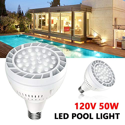 - ZHFEISY LED Pool Light Bulb for Inground Swimming Pool - 120V 50W Submersible Light Underwater Lights Battery Powered Pool Lights Waterproof Light for Hot Tub, Fountain, Pond, Fish Tank, Aquarium