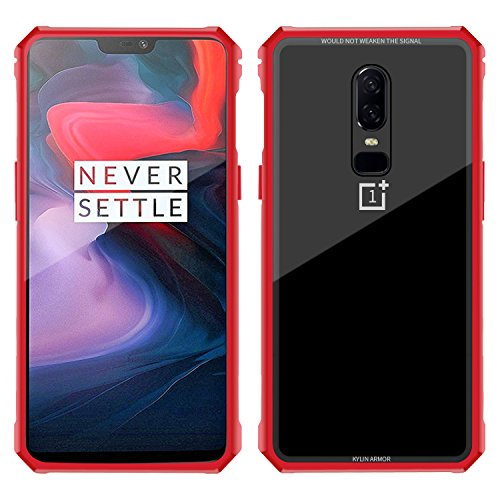 OnePlus 6 case,Simicoo OnePlus 6 Hybrid Metal Bumper Anti-Scratch HD Transparent Gorilla Glass Black Cover Ultra Slim Tough Shockproof Heavy Duty case for OnePlus 6 1+6 (Red, OnePlus 6)
