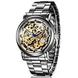 GuTe IK Unique Mens Blue Diamond Skeleton Automatic Mechanical Wristwatch Golden Movement All Steel