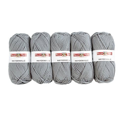 - Valley Yarns Haydenville 5-Pack (Washable Worsted Weight Yarn, 60% Superwash Merino Wool/ 40% Acrylic Microfiber) - #04 Light Grey