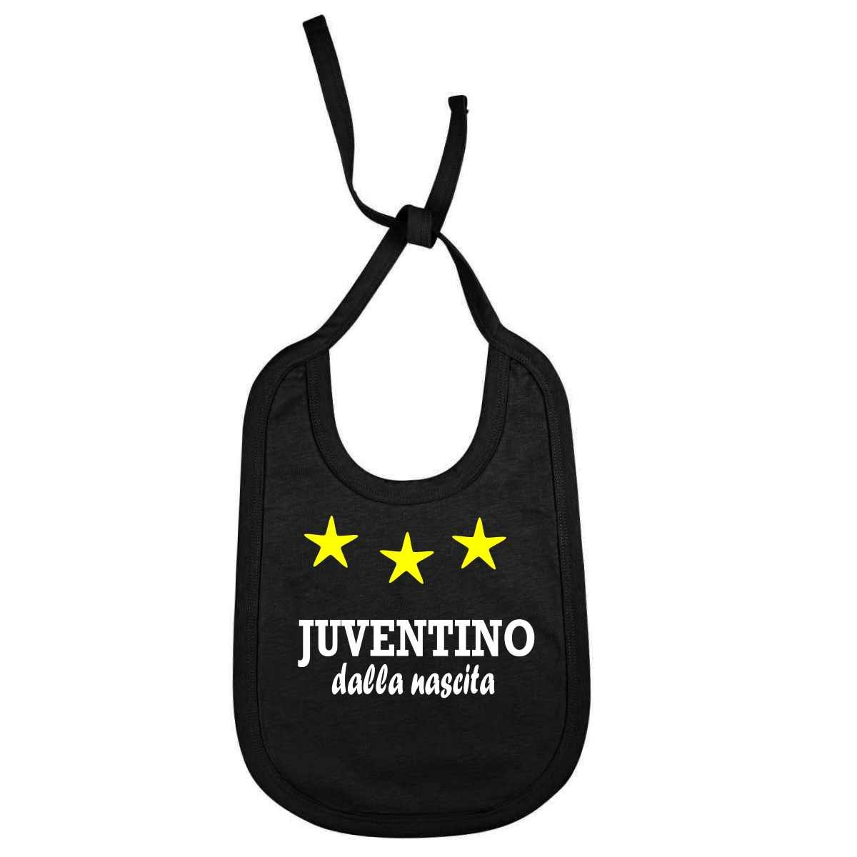 Bavaglino Personalizzato Juventino dalla nascita per piccoli tifosi della juventus juv-NE01 kar