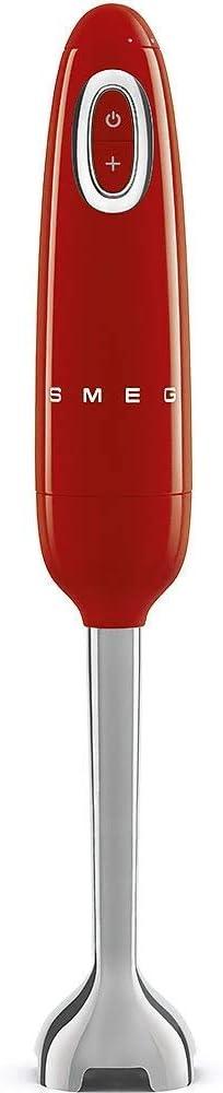 Smeg HBF01RDEU - Licuadora (Botones, Giratorio, 8150 RPM, 14850 RPM, Batidora de inmersión, Rojo, Acero inoxidable, 1,5 m)