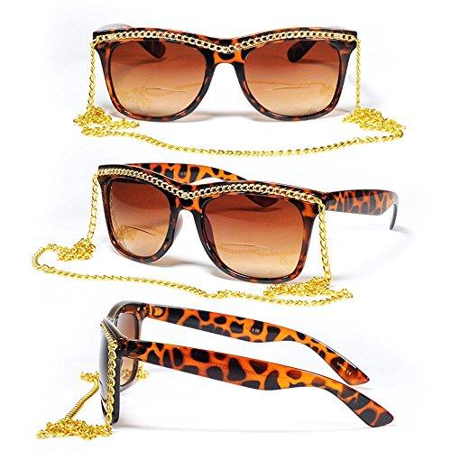 Bifocal Square Retro Urban 70s 80s Women Diva Chain Necklace Sun Reader Reading - Diva Eyewear