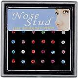 Sumanee 24Pcs Rhinestone Surgical Steel Round Nose Ring Bone Stud Body Piercing Jewelry multi color