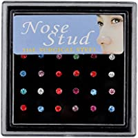 ERAWAN 24Pcs Rhinestone Surgical Steel Round Nose Ring Bone Stud Body Piercing Jewelry EW sakcharn (Multi-Color)