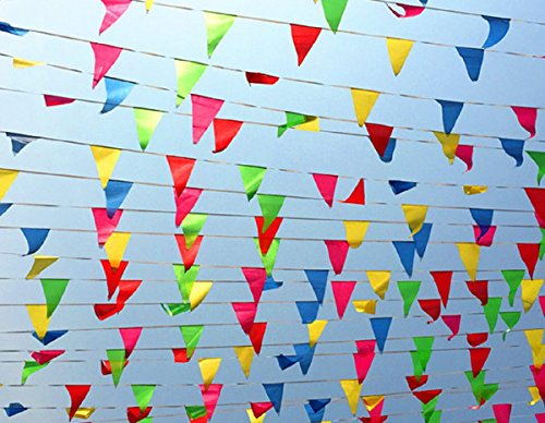 200Pcs Flag Banner,WowTop Multicolor Nylon Fabric Pennant Banner For Party Decorations,Grand Opening,Festival,250 - Party Pennant Flag
