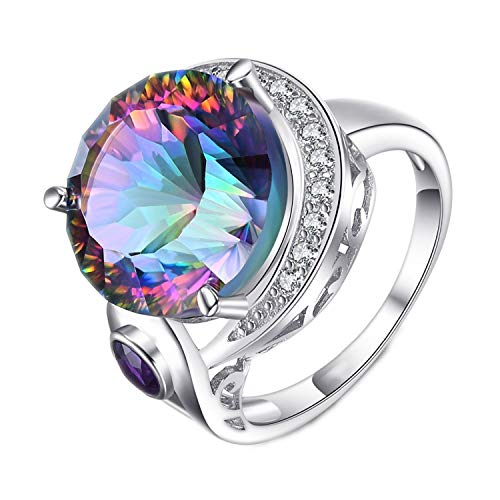 ihuoshang Genuine Rainbow Fire Mystic Topaz Solid 925 Sterling Silver Ring Vintage Jewelry for Women,7