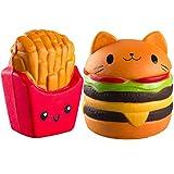 WATINC Kawaii Jumbo food squishies Hamburger&fries Squishy Slow Rising Sweet Scented Vent Charms Kid Toy Hand Toy, Stress Relief Toy animal Gift Fun Large(Hamburger&fries)
