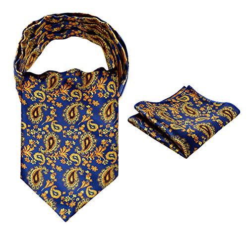 Alizeal Mens Self-tied Floral Woven Cravat and Pocket Square-Orange+Navy