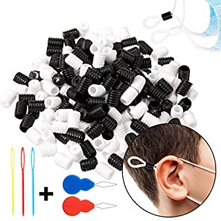 Whaline 200pcs Soft Silicone Cord Locks, Adjustment Buckle, Anti Slip Cord Buckles with Needle Threader for Round Ear Rope, Face Cover Rope for Children and Adults(Black & White)