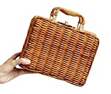 Pulama Wicker Woven Straw Beach Bucket Summer Fashion Vacation Women Top Handle Handbag (Novelty Box)