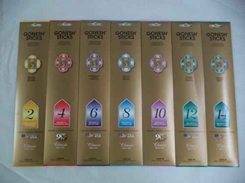 Gonesh 2 4 6 8 10 12 14 Incense Sampler 20 Sticks X 7 Packs (140 Stick)