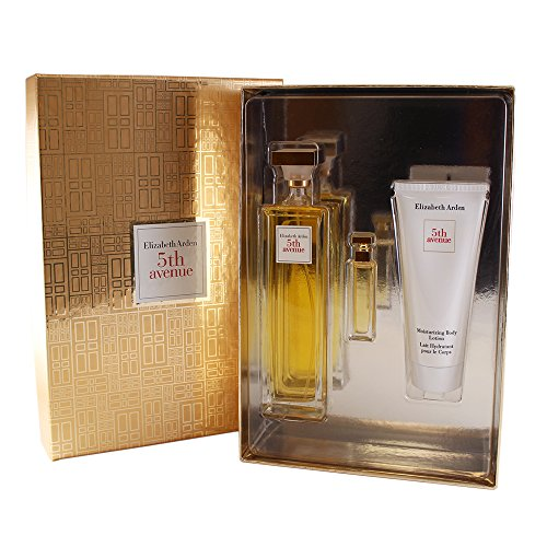 Elizabeth Arden 5th Avenue Set para Mujer, Eau de Parfum Spray 4.25 Oz/Mini 3.7 ml/Body Lotion 3.3 Oz, Paquete de 3 Piezas