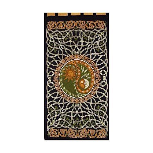 (Celtic Yin Yang Tab Top Curtain-Door Panel-Amber/Green)