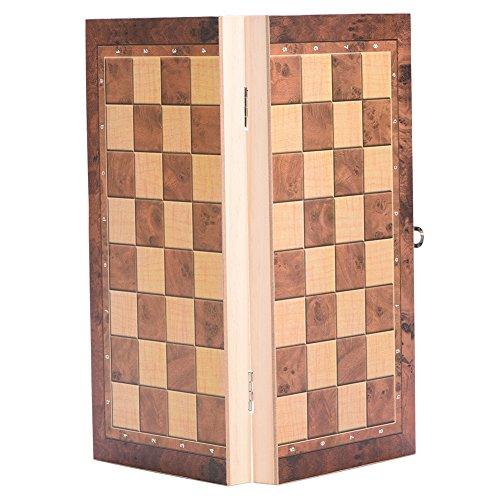 Juego de ajedrez internacional de madera 3 en 1 Tablero de ajedrez plegable portátil, juego de ajedrez para el hogar…