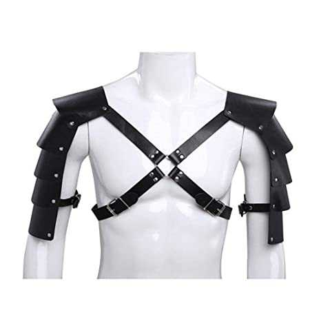 Cinturón de arnés de cuero punk Trajes de armadura Guardia hombro ...