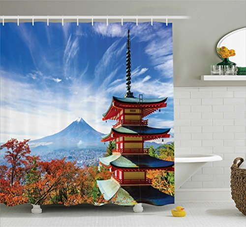 Ambesonne Asian Decor Collection, Mt Fuji with Chureito Pagoda in Autumn Fujiyoshida Japan Travel Destinations Image, Polyester Fabric Bathroom Shower Curtain Set with Hooks, Teal Orange (Pagoda Japan)