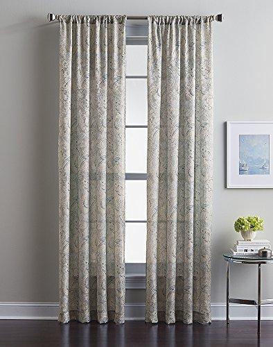 Winston Paisley Rod Pocket Curtain Panel, 63 Inch, Oyster