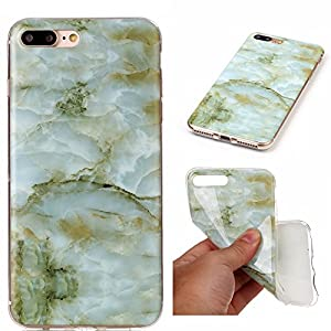 """iPhone 7 Plus Case, iPhone 8 Plus Case, Easytop Marble Stone Pattern Design IMD Anti-Scratch Anti-Finger Slim Fit Thin Soft Flexible TPU Cover Case for Iphone 7/8 Plus 5.5"""" (Green)"""