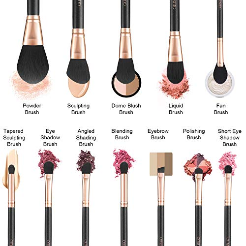 OMANIAC Professional Makeup Brushes Set (12Pcs), Pearl Flash Handles, Comfortable To Hold And Easy To Use. Eyeshadow, Blush, Blending, Full Face Cosmetic Kit With Brush Holder.