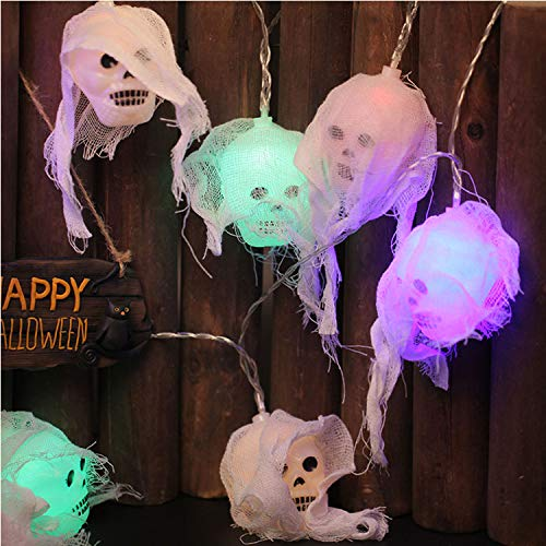 Yakalla Halloween String Lights, 8.8ft 20 LED Skull Lights String Halloween Decoration Lights, Battery Powered, Indoor & Outdoor Party and Halloween Decorations (Multicolor)]()