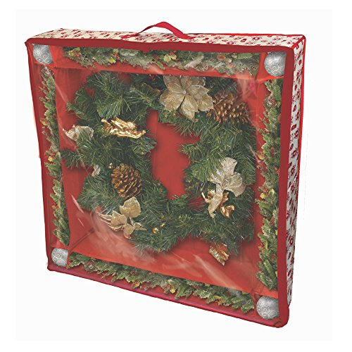 Paula Deen Wreath Organizer & Storage Container - Fits Large Christmas Holiday Wreaths Up To 36 Inch - Plus Space for Decoration & Door Hook or Hooks and Holder - Box Made with Best Heavy Duty Plastic