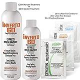 INVERTO 60 Advanced Gel Complex Brazilian Keratin Hair Blowout Treatment Formaldehyde Free Straightening Smoothing and Repairing Damaged Hair Keratin Research (Long hair-180ml)