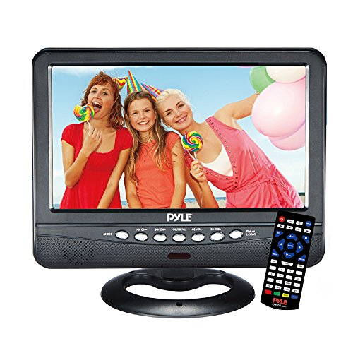 9 Inch Portable Widescreen TV - Smart Battery Operated Wireless Mini Car Digital Video Tuner, 800x480p TFT LCD Monitor Screen w/Dual Stereo Speakers, USB, Antenna, Remote, RCA Cable - Pyle PLTV9553