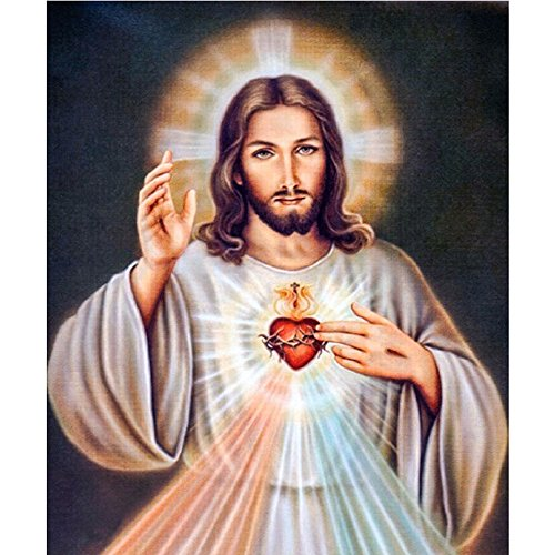 "FKUO 5D DIY Diamond Painting ""Jesus"" Embroidery Full 2.8mm Round Diamond Cross Stitch Painting Christian Living room decoration"