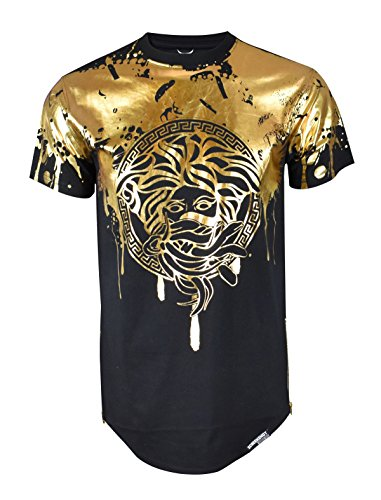 (Screenshotbrand Mens Hipster Hip-Hop Premiun Tees - Stylish Longline Latest Fashion Print T-Shirts Gold Foil MD- Black - Medium)