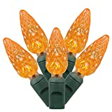 Vickerman Set of 50 Orange Commercial Grade LED C6 Christmas Lights - Green Wire