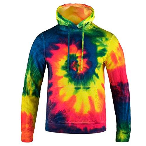 Magic River Tie Dye Hooded Sweatshirt - Neon Rainbow - Adult Small Hoodie