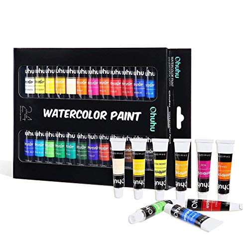 Watercolor Paint Tubes, 24 Water Colors Ohuhu Art Watercolors Painting Kit for Artists, Students, Beginners, Water-Color Paints Kit for Landscape Portrait Paintings on Canvas, 12ml x 24 Tubes ()
