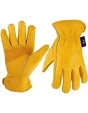 Kim Yuan Leder-Arbeitshandschuhe für den Gartenbau/Schneiden/Aufbau, für Männer und Frauen, elastisches Armband mit Palm, M, L/XL, gelb