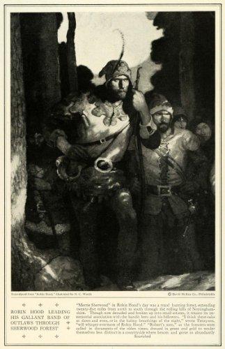 1923-print-robin-hood-sherwood-forest-wyeth-portrait-david-mckay-folk-tale-art-original-halftone-pri