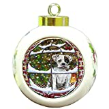 Please Come Home For Christmas Boxer Dog Sitting In Window Round Ball Christmas Ornament RBPOR48381