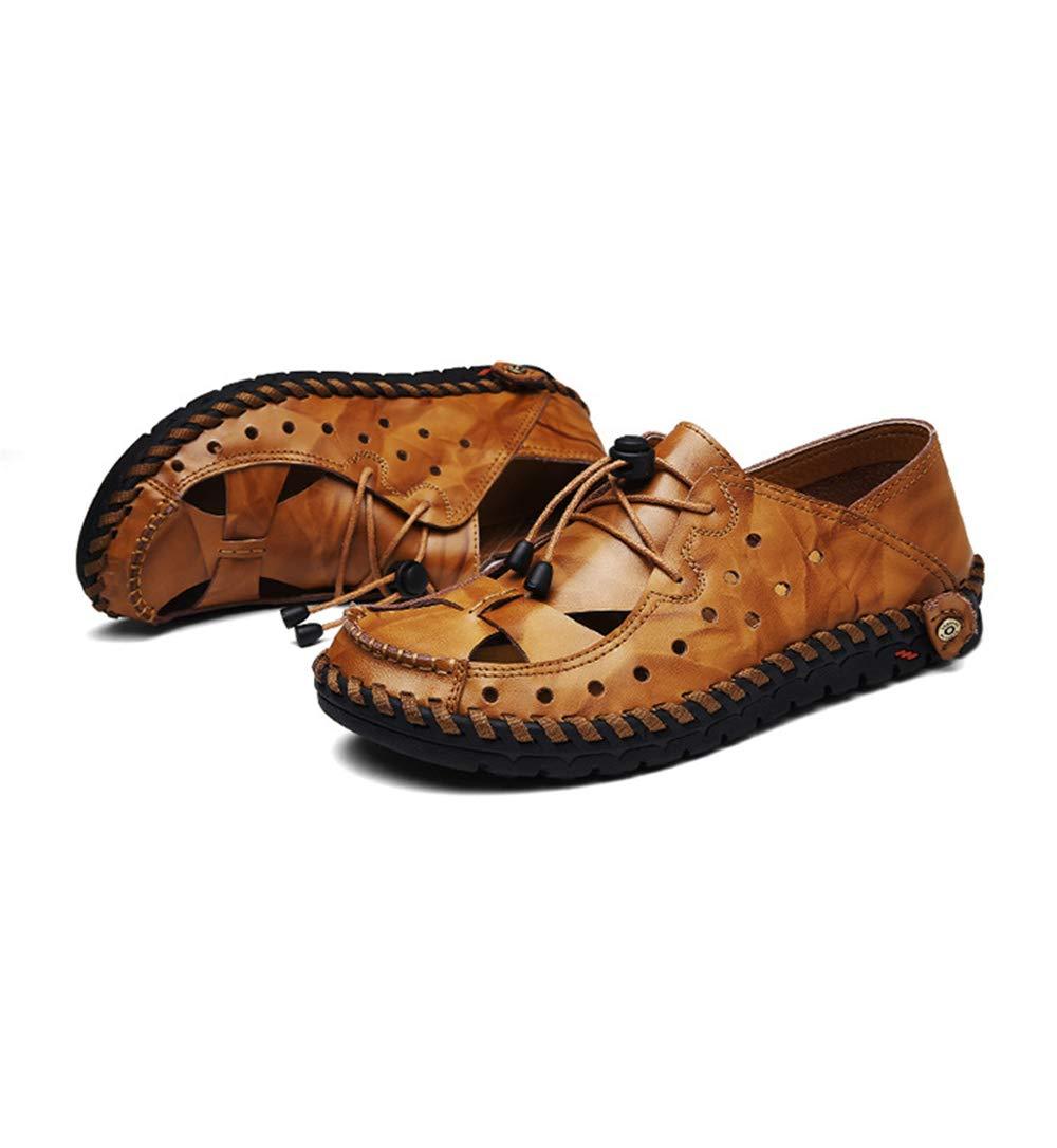Qiusa Herren Slip auf weiche aushöhlen echtem Leder Loafers weiche auf Sohle lässig Fahr Schuhe (Farbe : Braun, Größe : EU 41) Gelb 88759c