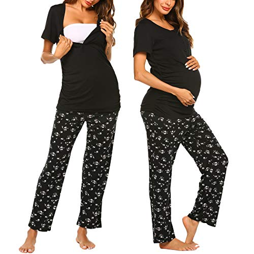 (Ekouaer Women's Maternity Nursing Pajamas Set Soft Pregnancy Breastfeeding Pajamas Top & Long Pants Sets (Black XXL))