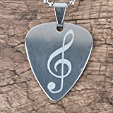 Guitar Pick Necklace Pick Pendant plectrum\Silver Stainless Steel Pick Necklace (High notes)