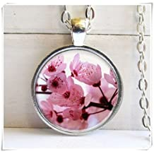 Artificial, Cherry Blossom Pendant, Pink Flowers Necklace, Photo Pendant