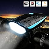 LETOUR Bike Light Loud Bike Horn, Rechargeable Bicycle Light Waterproof Cycling Lights, Bicycle Light Front Loud Sound Siren, 3 Lighting Modes 5 Sounds