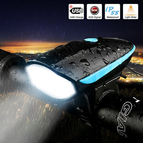 LETOUR Bike Light Loud Bike Horn, Rechargeable Bicycle Light Waterproof Cycling Lights, Bicycle Light Front Loud Sound Siren, 3 Lighting Modes 5 Sounds by LETOUR