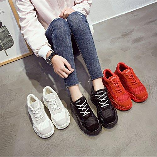 Regenstar Womens Casual Clunky Sneaker Outdoor Sport Lace Up Platform Net Schoenen Zwart