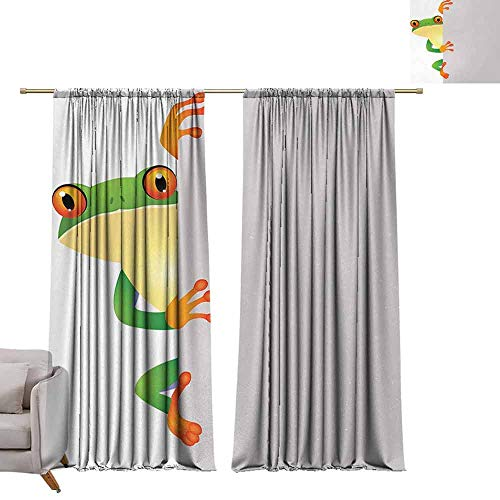 Thermal Insulated Blackout Curtains Reptile,Funky Frog Prince with Big Eyes on Wall Camouflage Nursery Reptiles Decor,Green Yellow Orange W96