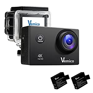 Vemico 4k Action Camera Wi-Fi Waterproof 16MP 1080p Full HD 2.0'' Screen Sports Helmet Cam with Free Mounting Accessories and 2 Rechargeable Batteries for Bikes Motorbike Snorkeling (Black)