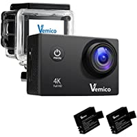 Action Camera 4K, Vemico Sports Camera Waterproof WIFI 1080P Video Camcorder HD Helmet Camera with 2 Rechargeable Batteries